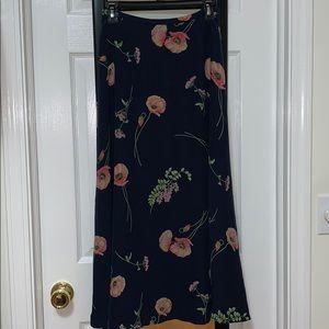 Liz Claiborne 100% Silk Floral Maxi Skirt